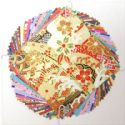 Yuzen Chiyogami floral patterns, Assorted colours, 10cm x 10cm, 1 case of 3 packs, 90 sheets, 70 gsm, [XRC005A]